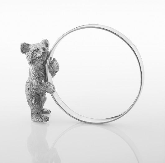 Кольцо гладкое для салфетки с медвежонком